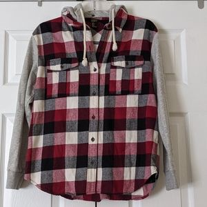 Forever 21 red plaid flannel hooded shirt